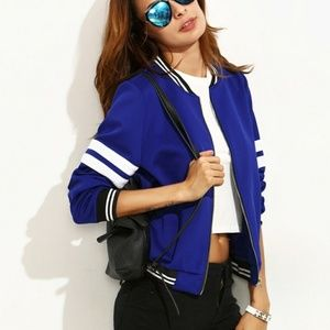 Jackets & Blazers - Royal Blue Preppy Bomber Jacket